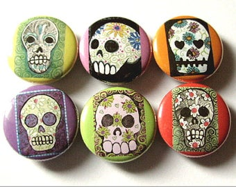 Fridge Magnet Set Sugar Skull Dia De Los Muertos Day of the Dead halloween skeleton calavera party favor stocking stuffer gift button pin