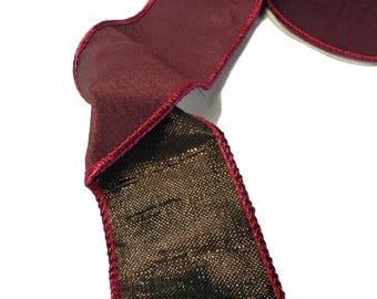 """Deep Maroon With Bronze Underside Wired Ribbon  2.5"""" Wide"""