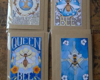 Set of 4 Bee blessings greetings cards