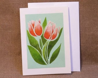 Note Card - All Occasion Card - Hand Stencilled Card - Blank Greeting Card - Notecard - Pink Tulips - Floral Note Card