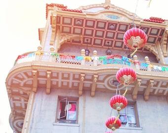 San Francisco Art - Travel Photography - Chinatown Red Lanterns - Ornate Architecture - Aqua Gold Red - Lantern Print 8x8 - All Dressed Up