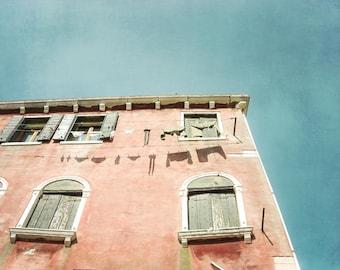 "Venice Italy Photograph - Architecture Art - Laundry Line - Italy Photograph - Venice Wall Art - Windows Print  ""Terra Cotta House"""