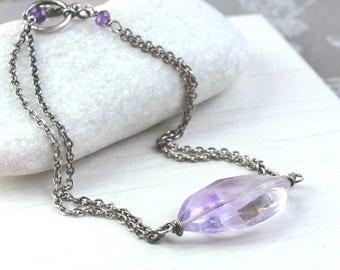 Purple Amethyst Bracelet  Oxidized  Silver  Gemstone Jewelry Gem Stone Bracelet  February  Birthstone Jewelry Birthday Gift