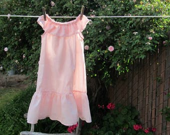 Ready now!  Girls size 6-8 Sweet Summer Nightgown Pink Cotton