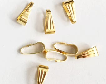 50 pcs of gold plated snap bail 9x4mm, gold snap bail, Gold  locket bail, bulk gold bail