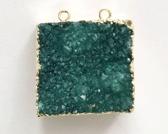 Green Druzy agate pendant with electroplated brass , Green agate with gold frame, green agate pendant with two loops 32x28mm