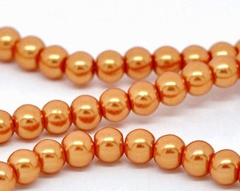 "40% Retirement Closeout - Orange, Glass Pearl, 8mm Glossy Round, 15"" Strand, 8S-GL8POR-015-001"