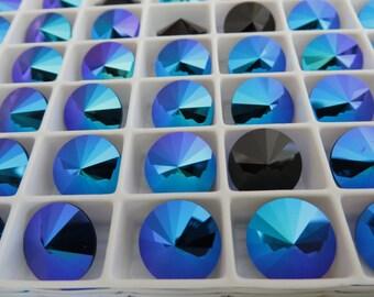 6 Jet Glacier Blue Foiled Swarovski Beads Rivoli Stone 1122 12mm