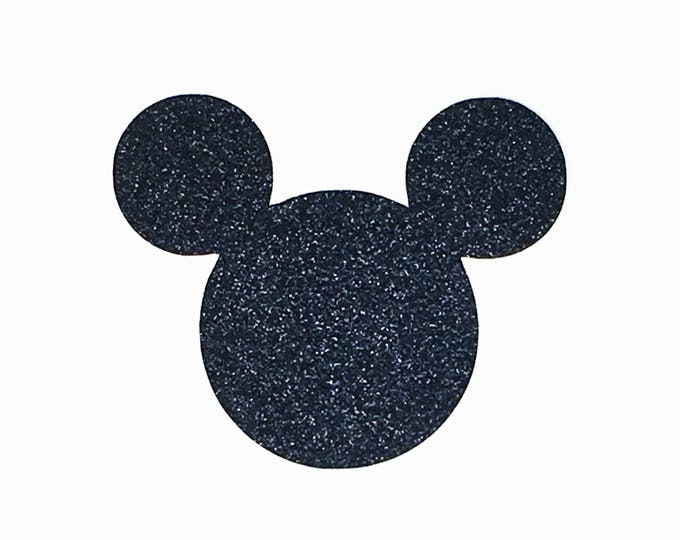 Featured listing image: Disney Mickey Mouse Die Cut Black Glitter Cardstock 4 Inch Size - Scrapbook Greeting Card Birthday Invitations Party Decoration Art Craft