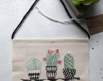 Succulents Cactus Plants Canvas Banner wall hanging plant stand pottery cacti embroidery