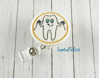 Gold Dental Floss Tooth Badge Holder with Retractable Reel, Dental Badge Reel, Orthodonist Badge Holder, Lanyard Id Badge Holder