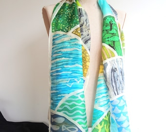 NEW Roseland Cornwall Coast art scarf -large silk scarf -abstract landscape-deep blue & green to white- wearable art- ready to ship OOAK