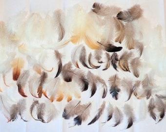 Natural Molt Ameraucana Chicken Feathers Fluffy Body Marabou Plume Gray Furnace Green Purple Blue Sheen