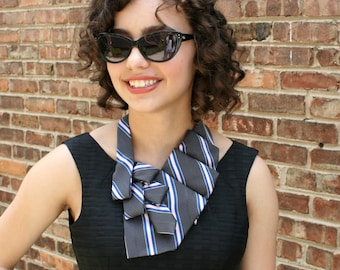 Necktie Scarf - Ascot Tie - Necktie Necklace - Women's Tie - Hipster Clothing - Upcycled Clothing - Work Wear - Grey, Pink Scarf. 47.