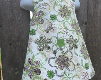 Pinafore Size 3T --- brown and green flowers Reversible Top (((ready to ship)))