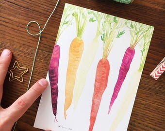 Carrot Art. Rainbow Carrots Print. Watercolor Veggies. Vegetable Painting. Kitchen Decor. 5x7 Wall Art. Gift Under 20. Ready to Frame