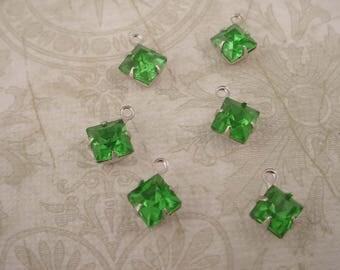 6 Vintage 6mm green peridot glass Square Rhinestone charms silver setting 1 ring