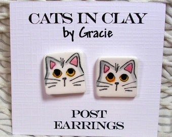 White Cat Post Earrings In Clay Kiln Fired Handmade by Grace M. Smith