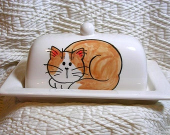 Pottery Butter Dish With Orange Cat Handmade Original by Grace M Smith