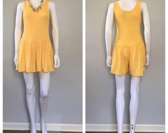 Vintage Yellow romper Cotton one piece pull on jumpsuit
