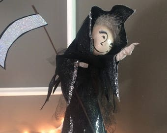 Grim reaper doll grim reaper tree topper halloween doll black and silver halloween decor party decor vintage retro inspired angel of death