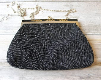 Stunning Black Beaded Purse, 1950s, flapper style purse, Black evening bag, Long chain, Black beaded clutch