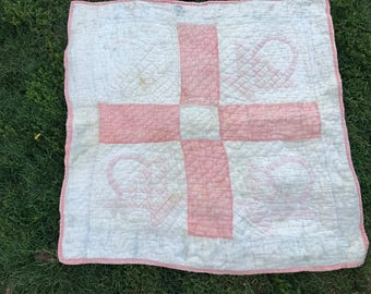 Vintage Well Loved Hand Quilted Pink and White Flower Basket Crib Quilt