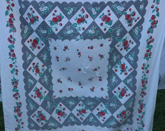 Vintage Grey and White with Red Strawberries Print Cutter Tablecloth