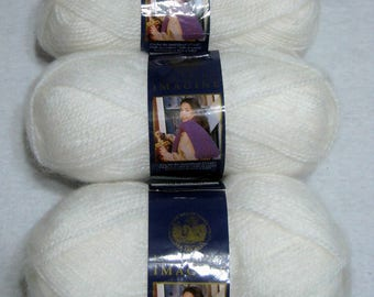 Lot 3 Skeins Yarn Mohair Acrylic Lion White