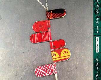 Wayfinding Red Patterns--Upcycled Tin Necklace