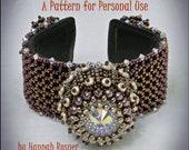 NEW Bead Pattern Sea Urchin Cuff Bracelet -  Intermediate/advanced tutorial instructions - beading by Hannah Rosner