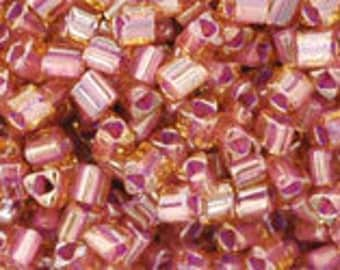 TOHO Japanese Seed Beads - Triangle 11/0: 960  Inside-Color Lt Topaz/Pink-Lined - choose your gram weight