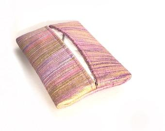 Shimmery pink pocket kleenex. gift for her. womens small travel tissue holder. teacher small gift ideas. mini pouch