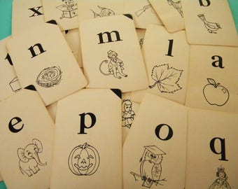 Vintage Deck of Alphabet Flash Cards with Words and Pictures