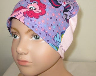 Kid's Chemo Hat My Little Pony Pink Back Children's Cancer Cap, Alopecia, Sleep Cap