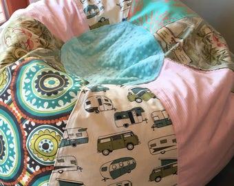 NEW VW Pop Top Westfalia And Flamingo Coral Tropical Beach Bean Bag Chair Unfilled With Cover