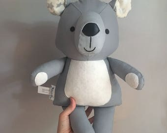 Decorative teddy bear doll in grey/ Peluche décorative ourson gris