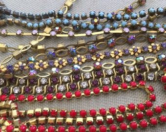 44 Feet of Vintage Rhinestone & Brass Chain (only Lot)