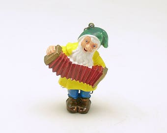 Vintage Christmas Ornament Gnome Elf Accordion Christmas Decoration