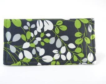 Fabric Checkbook Cover, Receipt or Cash Wallet, Checkbook Holder, Women's Wallet, Gray and Green Floral Print