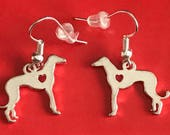 Silver Plated Heart Hound Fishhook Earrings with Protectors, Greyhound or Whippet