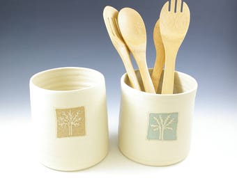 Special Order for Tracy 2 ONLY. Utensil Holders, Sage Green and Yellow Tan, Trees