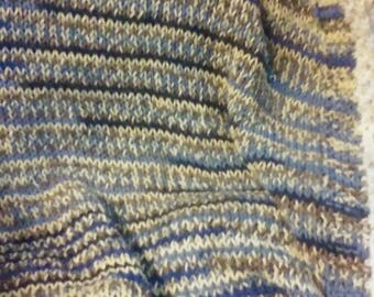 """Blue Camoflage Hand-knitted Afghan/Throw 50""""X50"""""""