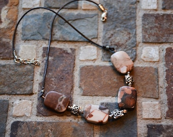 Beaded Necklace, BOHO necklace, Brown Agate and Leather with Sterling Silver OOAK