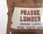 Canvas, cognac leather carryall, tote bag - vintage Prasse Lumber Cleveland Ohio- eco vintage fabrics