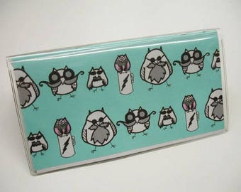 Checkbook Cover Manly Owls and Pink Damask Vinyl