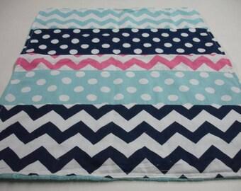 Hot Pink Navy Aqua Chevron and Dots Minky Lovey Baby Blanket  18 x 22 READY TO SHIP