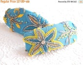 SALE - Aqua yellow embroidered beaded barrette, thick hair clip, ponytail holder,BACK IN Stock