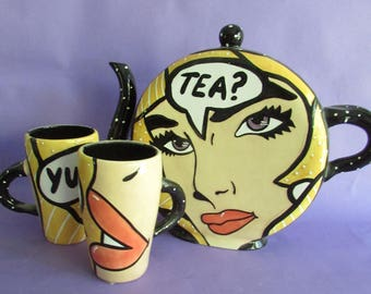 Pop Art Teapot and mugs