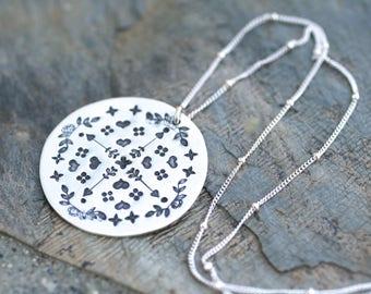 Sterling Silver Mandala Metal Stamped Pendant Necklace, Hand Stamped Mandala, Silver Mandala Necklace, Yoga Necklace, Zen Jewelry